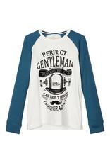 Name It Witte t-shirt met blauwe contrast mouwen