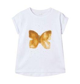 Name It Witte t-shirt met gouden vlinder