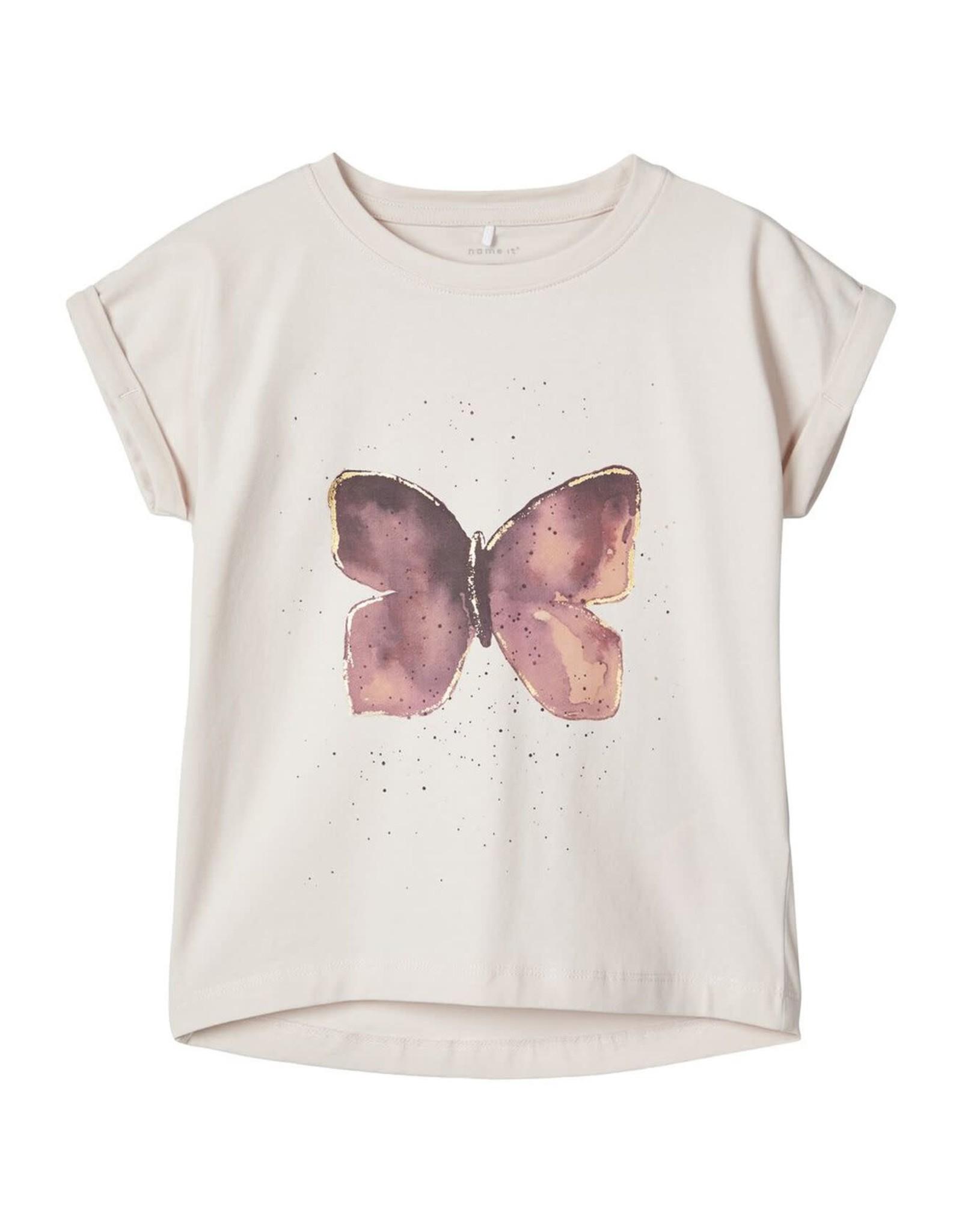 Name It Lila t-shirt met paarse vlinder