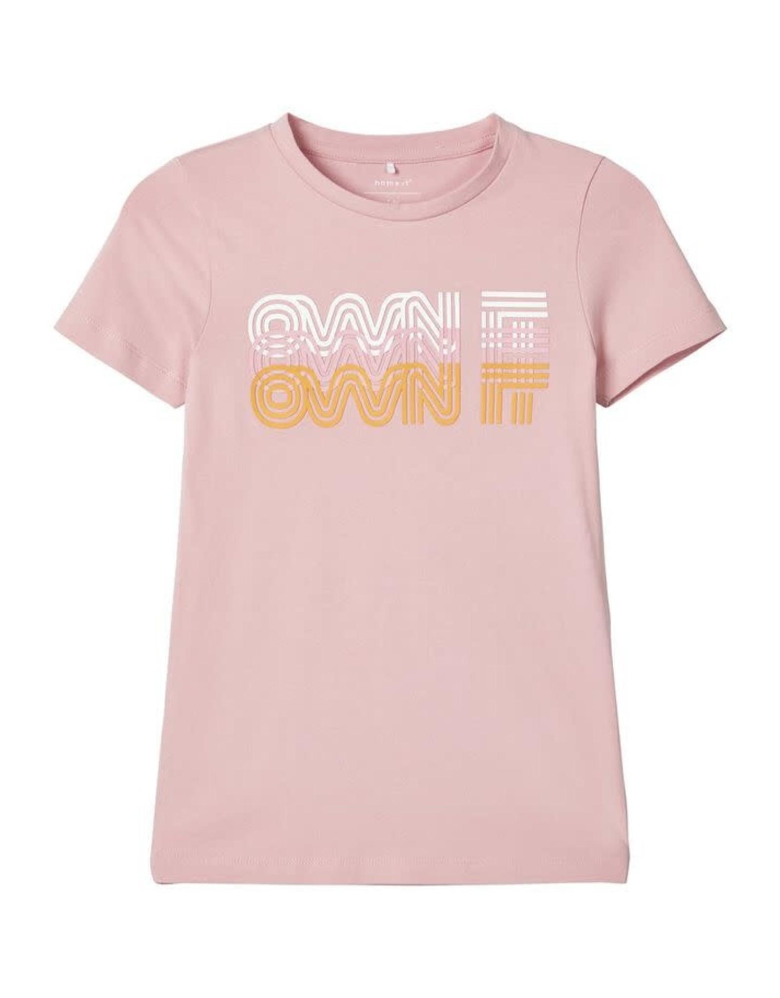 Name It Zacht roze t-shirt met bedrukking