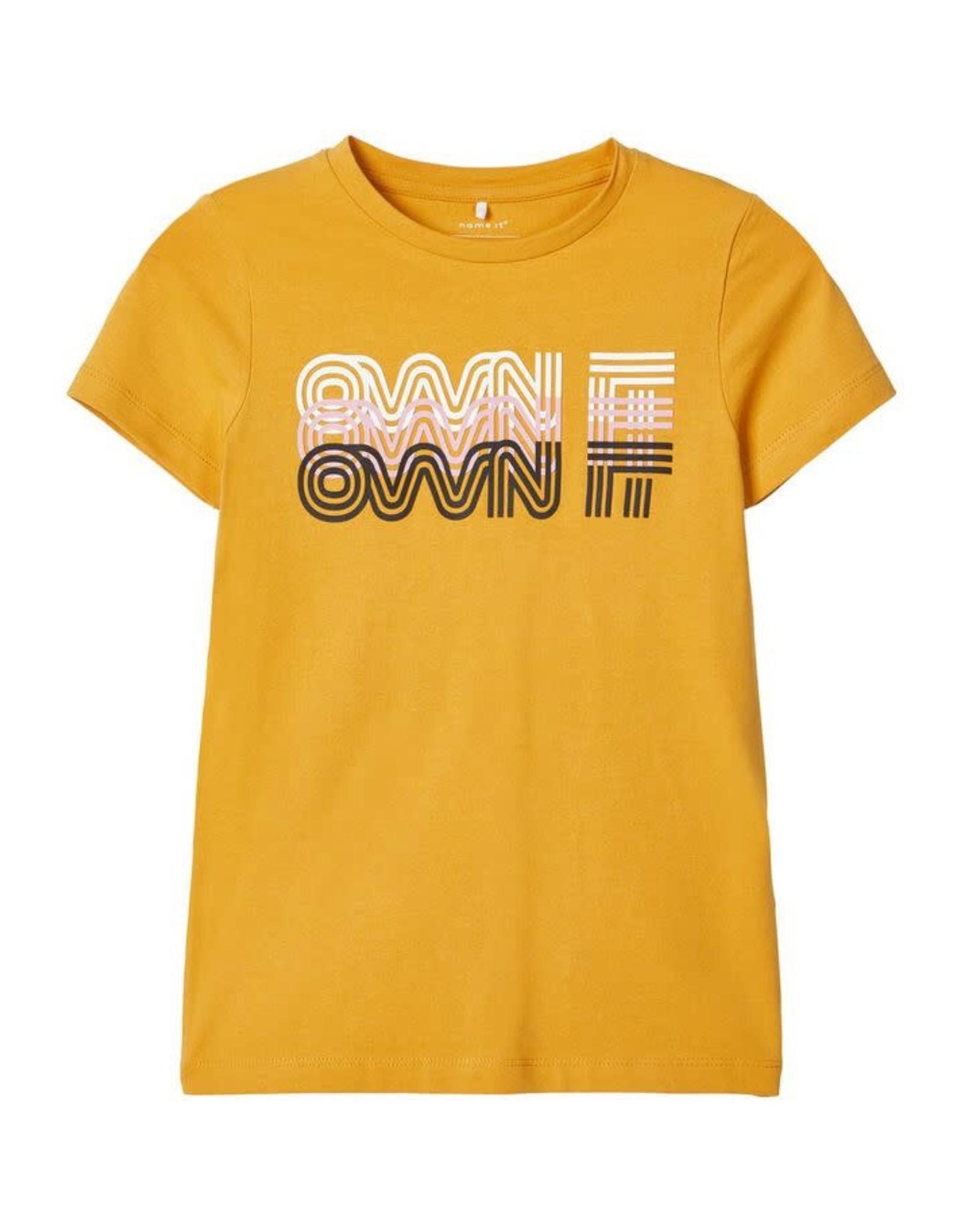 Name It Goudkleurige t-shirt met bedrukking
