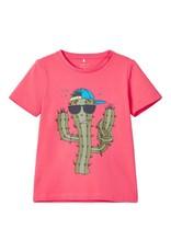 Name It Koraalkleurige unisex t-shirt met cactus