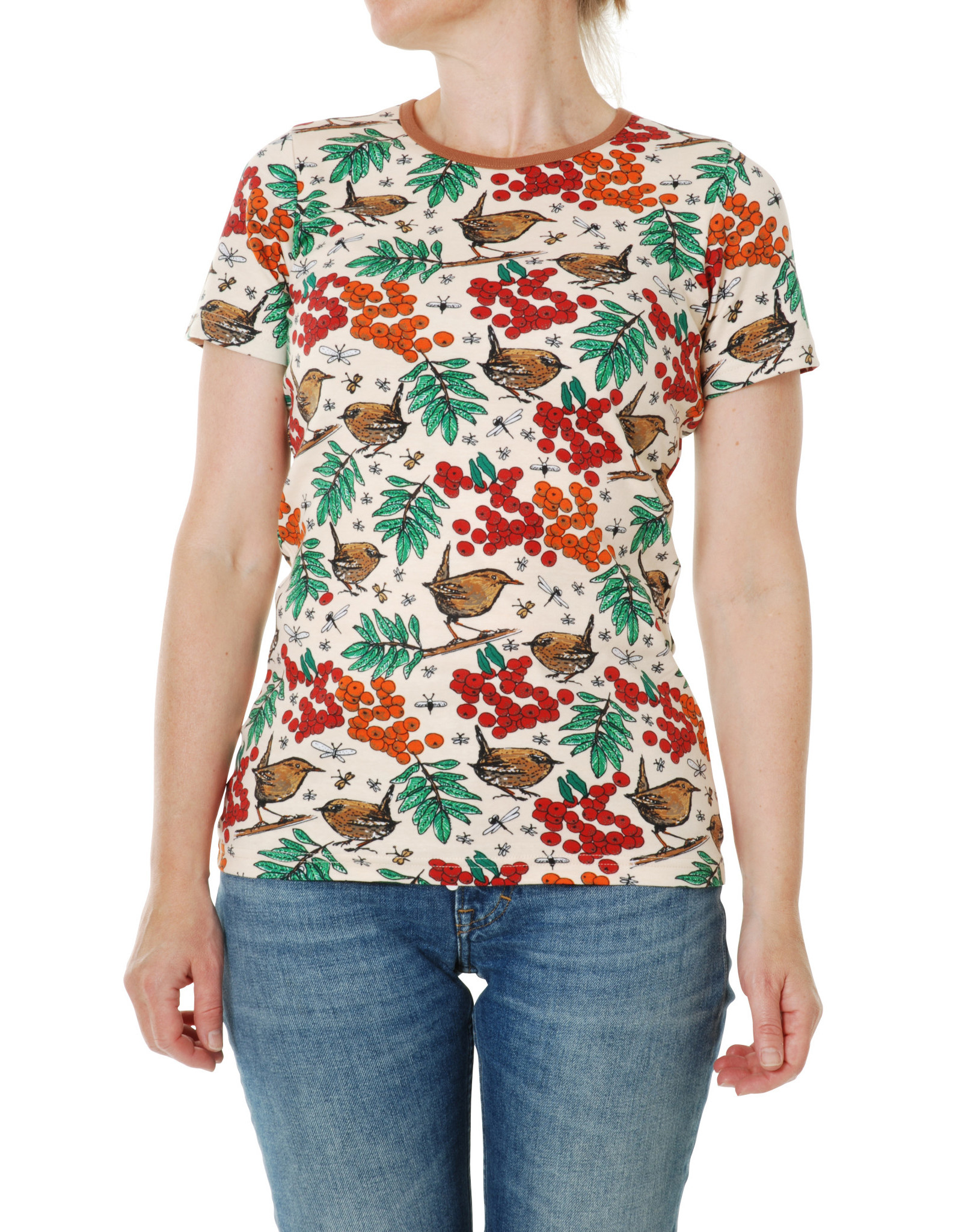 Duns VOLWASSENEN T-shirt vogels en blaadjes print