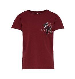 KIDS ONLY Bordeaux rode t-shirt met bloem bedrukking