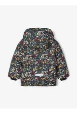 Name It Donkerblauwe winterjas met kleine bloemetjes