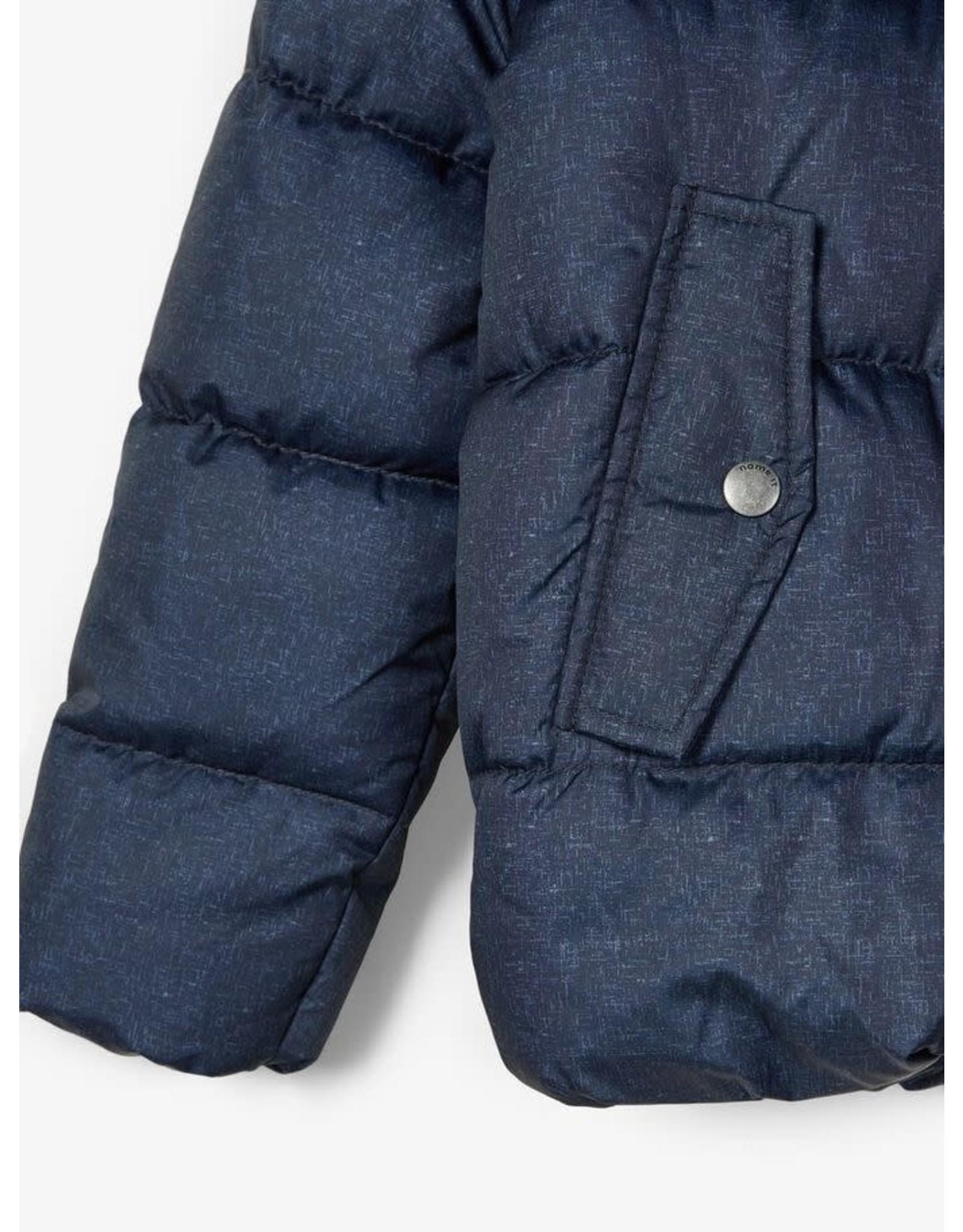 Name It Blauw gemeleerde dikke winterjas - LAATSTE MAAT 158