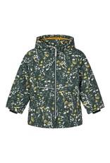 Name It Groene winterjas met kleine wit en gele bloemetjes