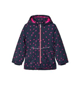 Name It Donkerblauwe winterjas met roze stippen