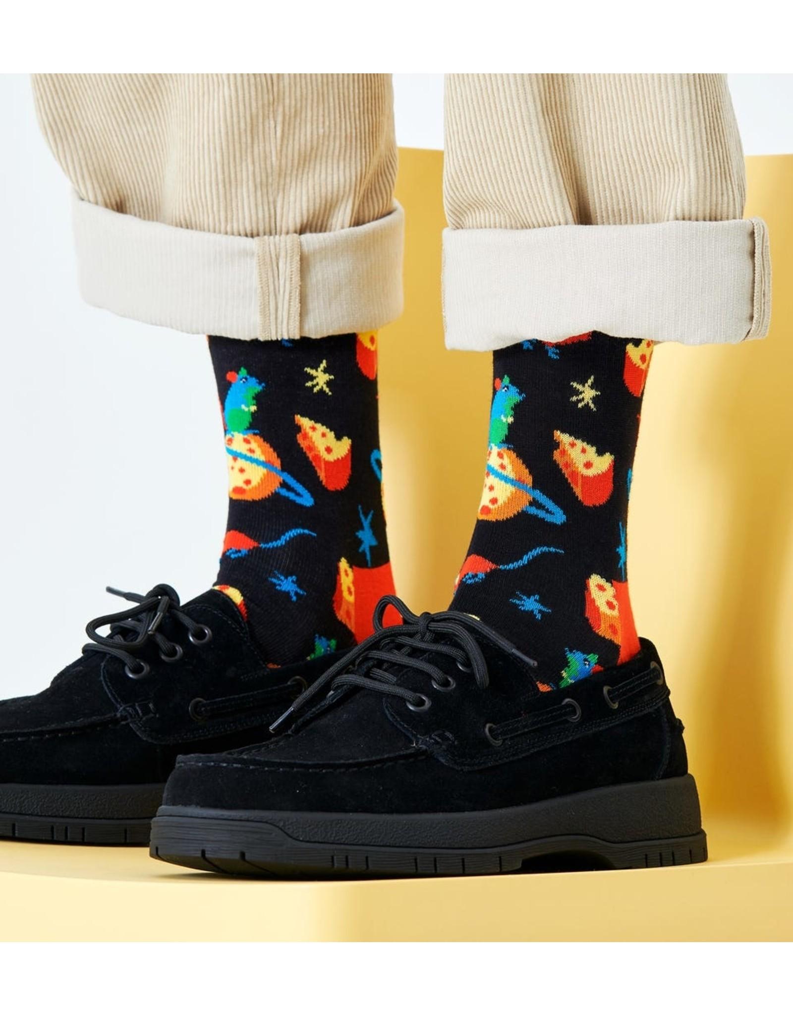 Happy Socks Sokken met muizen en de maan uit kaas (MAAT 36/40 + 41/46)
