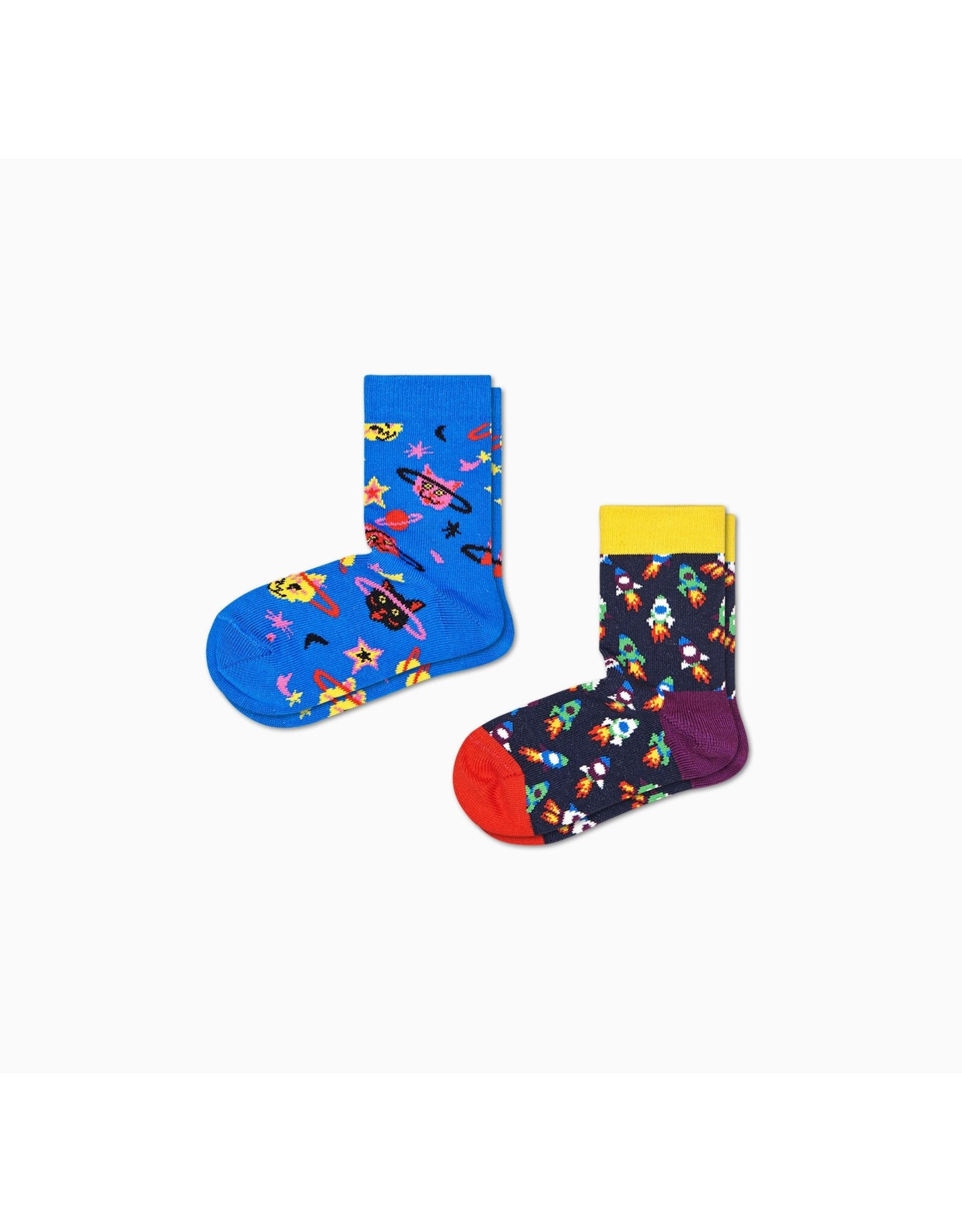 Happy Socks 2-pack kindersokken met ruimte thema