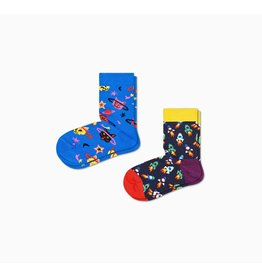 Happy Socks 2-pack kindersokken met ruimte thema