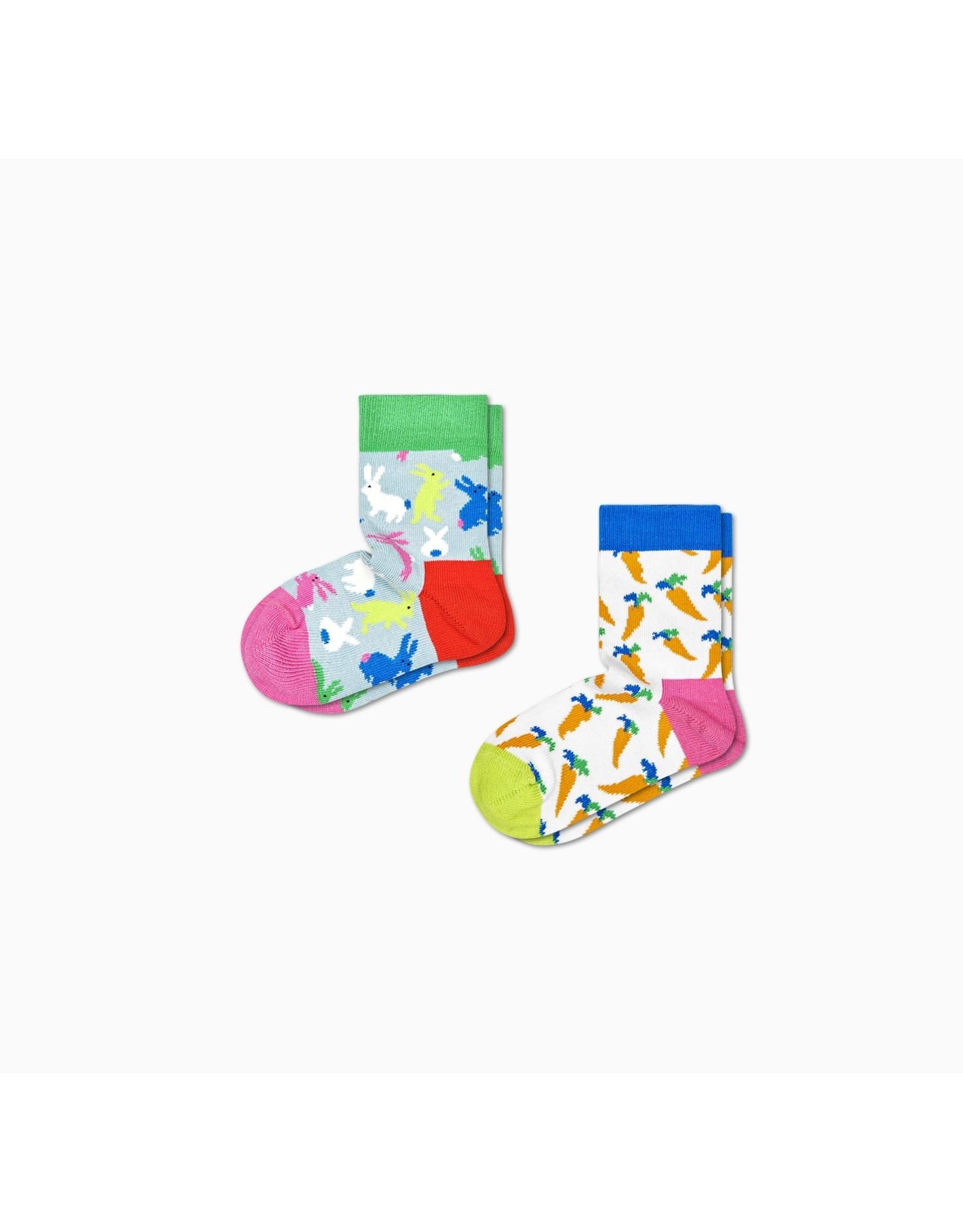 Happy Socks 2-pack Kindersokken met konijnen en wortels