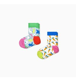 Happy Socks 2-pack Kindersokken met konijnen en wortels