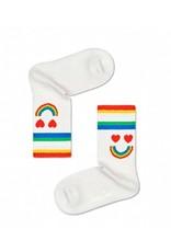 Happy Socks Retro geribde kindersokken met regenboog smiley