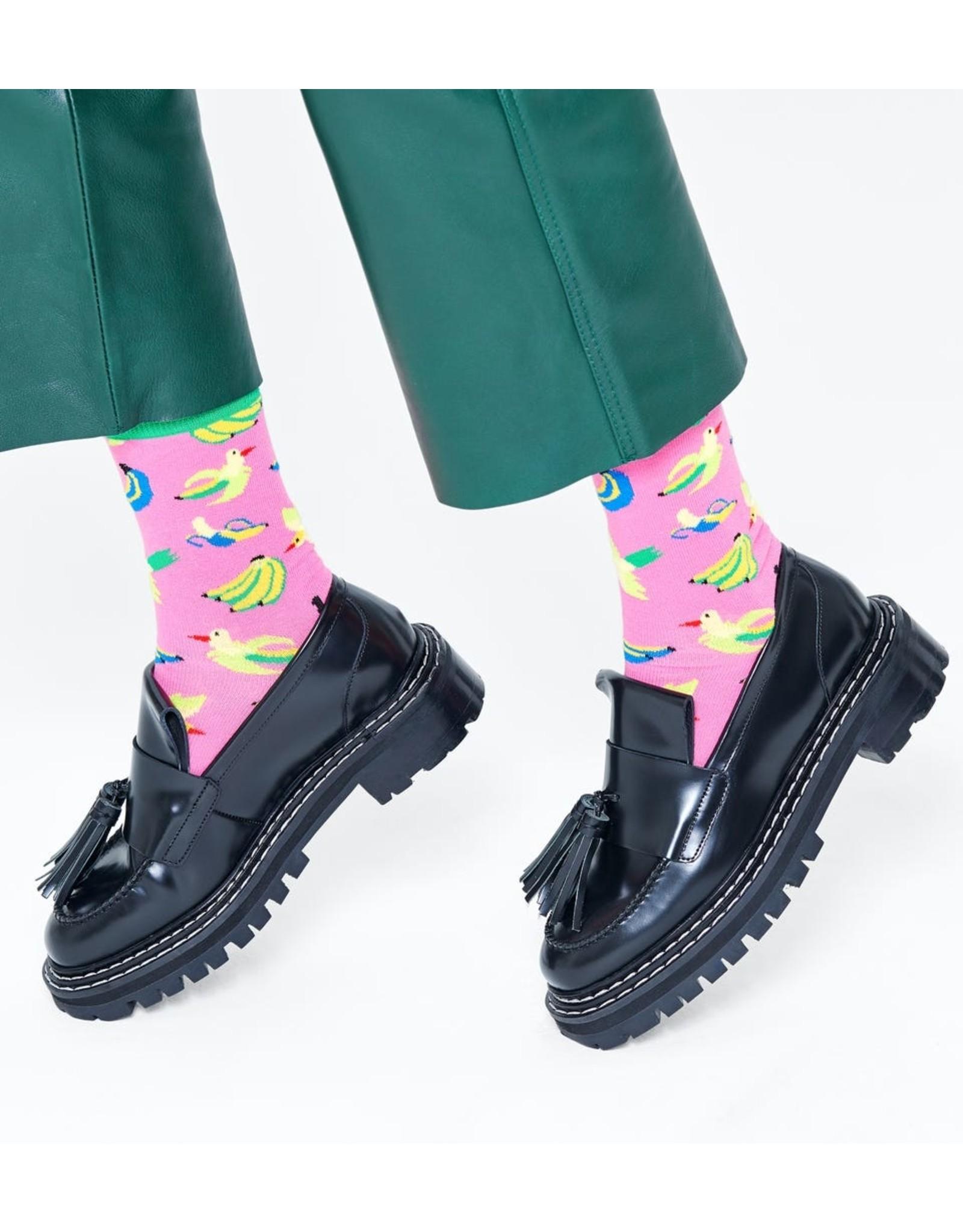 Happy Socks Roze sokken met bananen en vogels (MAAT 36/40)