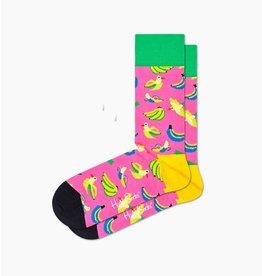 Happy Socks Roze sokken met bananen en vogels