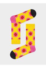 Happy Socks Gele sokken met lachende bloemen