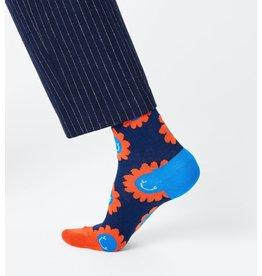 Happy Socks Blauwe sokken met smiley bloemen