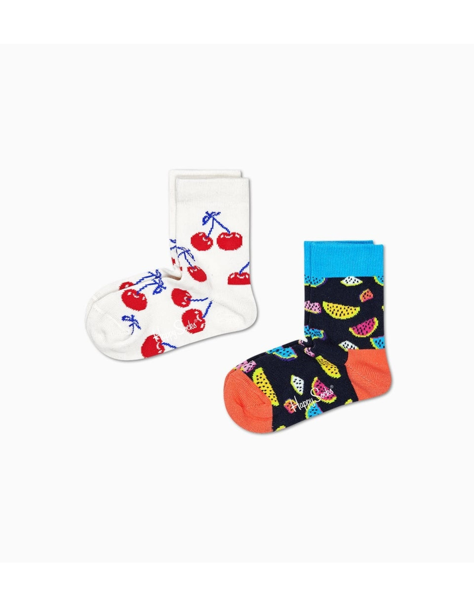 Happy Socks 2-pack kindersokken met fruitprint