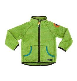 Villervalla Groene teddy fleece unisex trui met rits