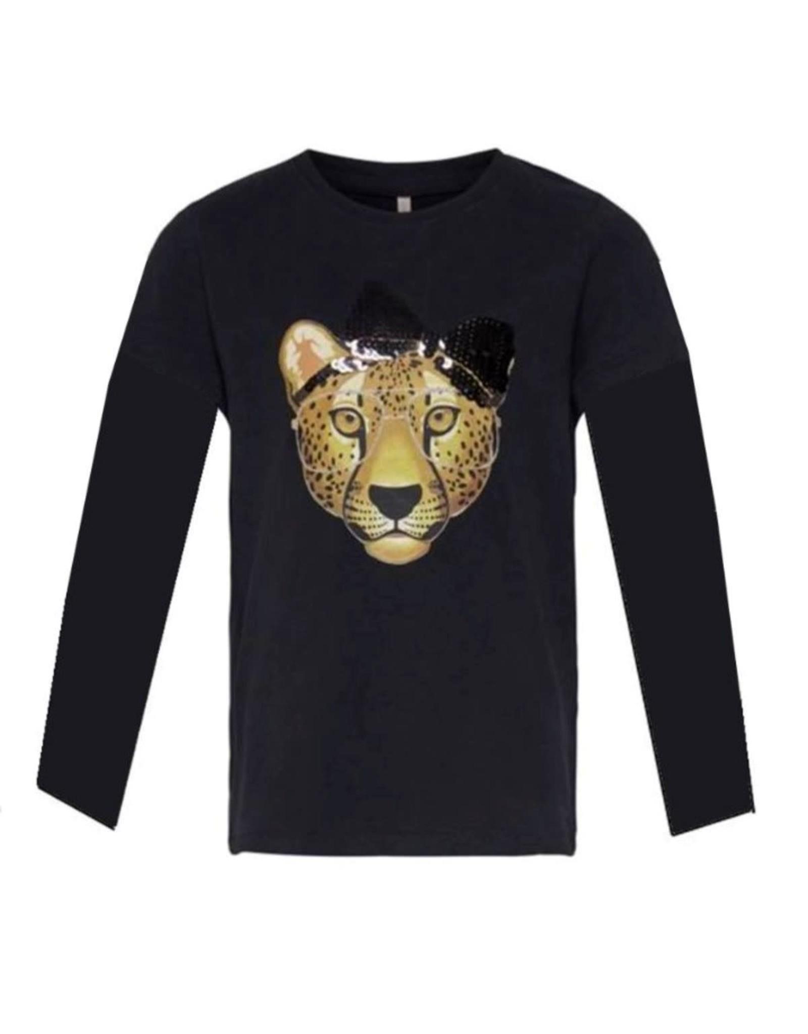 KIDS ONLY Zwarte t-shirt met panter bedrukking - LAATSTE MAAT 104