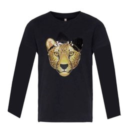 KIDS ONLY Zwarte t-shirt met panter bedrukking