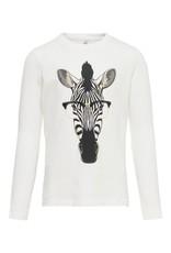 KIDS ONLY Witte t-shirt meisjes met zebra bedrukking - LAATSTE MAAT 134/140