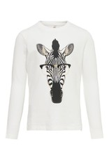 KIDS ONLY Witte t-shirt meisjes met zebra bedrukking