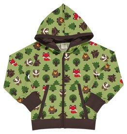 Maxomorra Hoodie trui met rits en dieren uit het bos