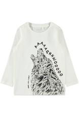 Name It Witte t-shirt met huilende wolf
