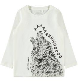 Name It Witte t-shirt met huilende wolf