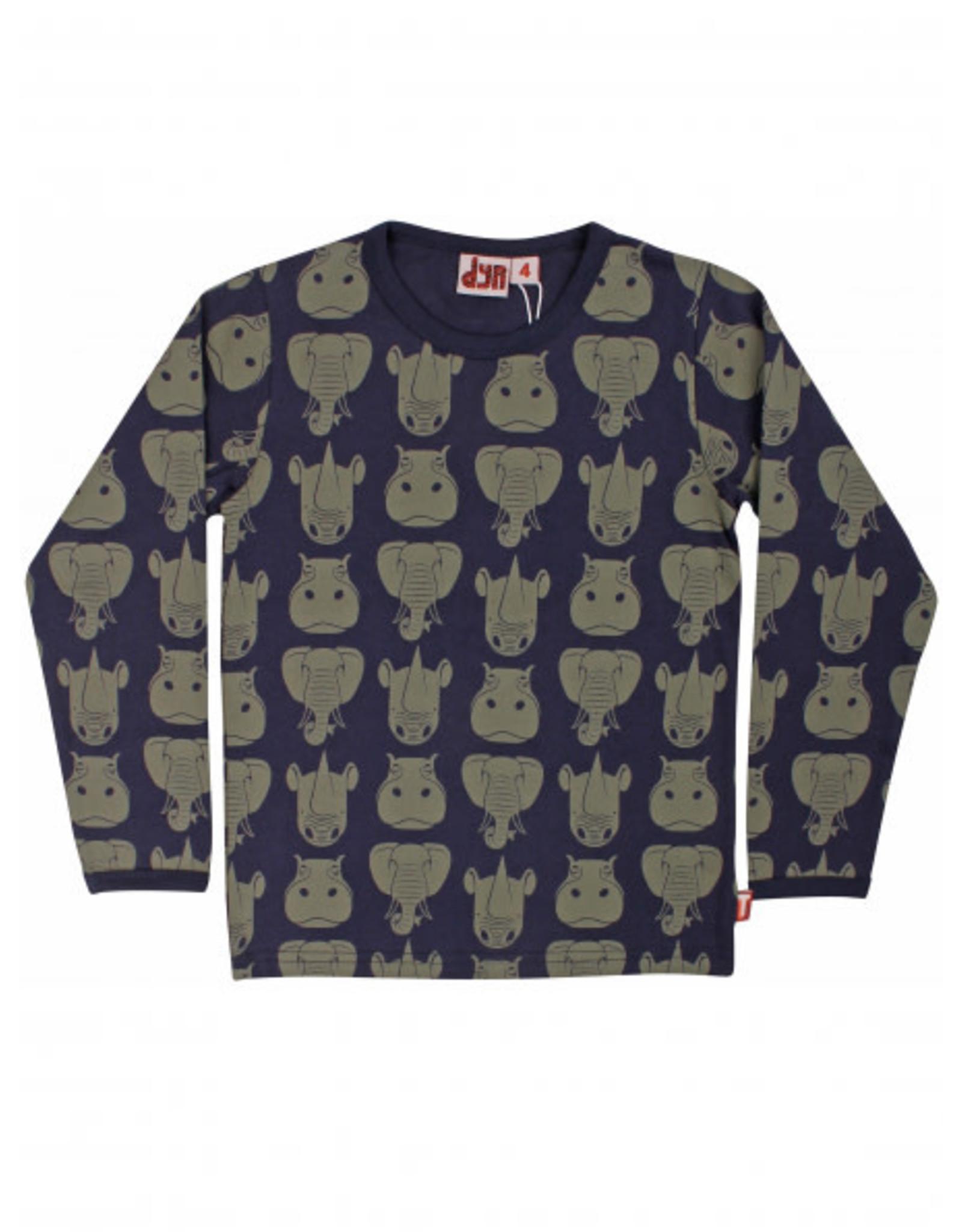 Dyr T-shirt met lange mouwen en safari dieren print