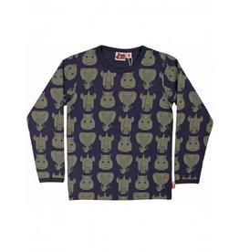 Dyr T-shirt met lange mouwen en safari dieren print - LAATSTE MAAT 7Y