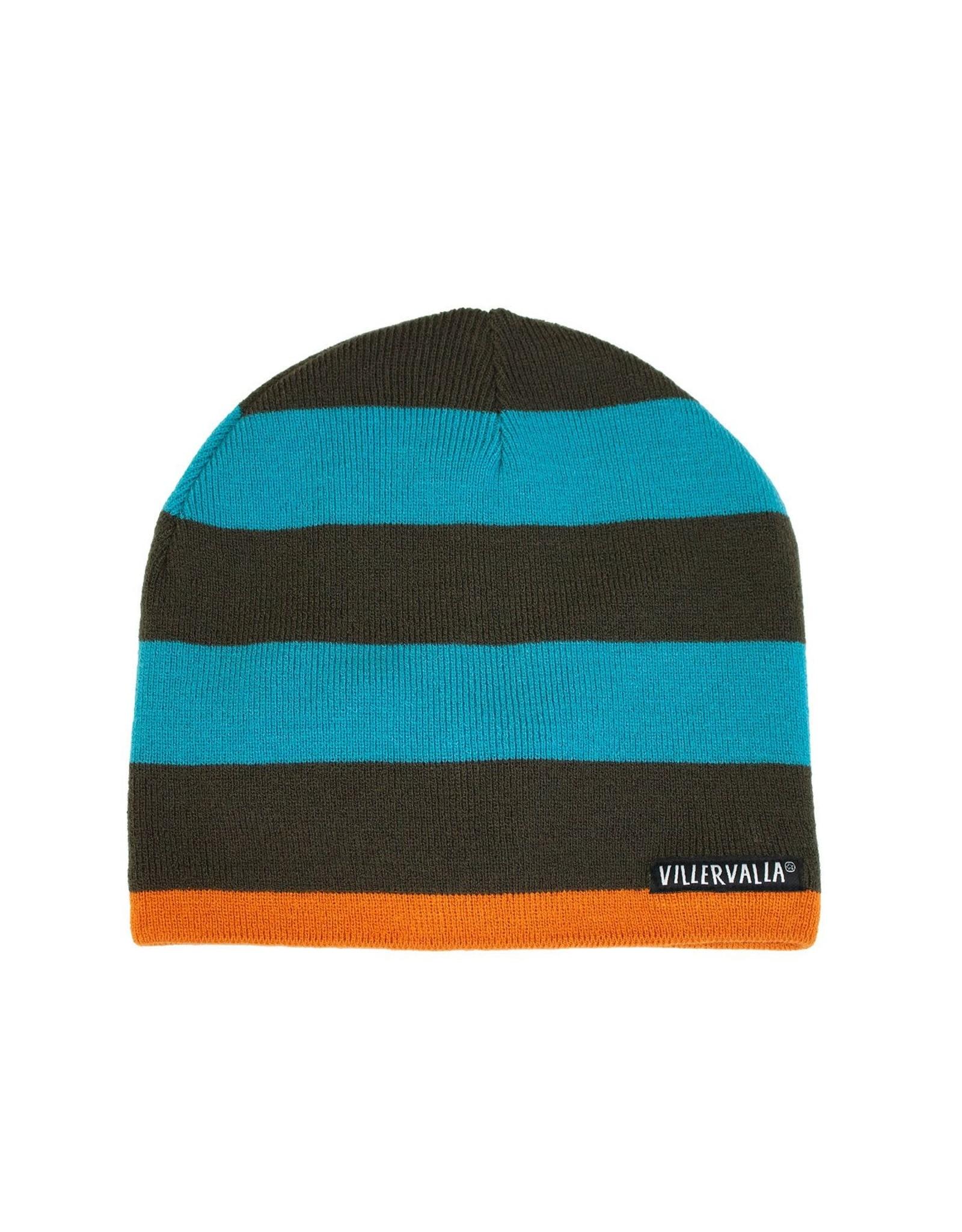 Villervalla Warme wintermuts met blauw/bruine strepen