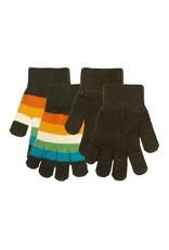 Villervalla 2-pack handschoenen (gestreept en effen bruin)