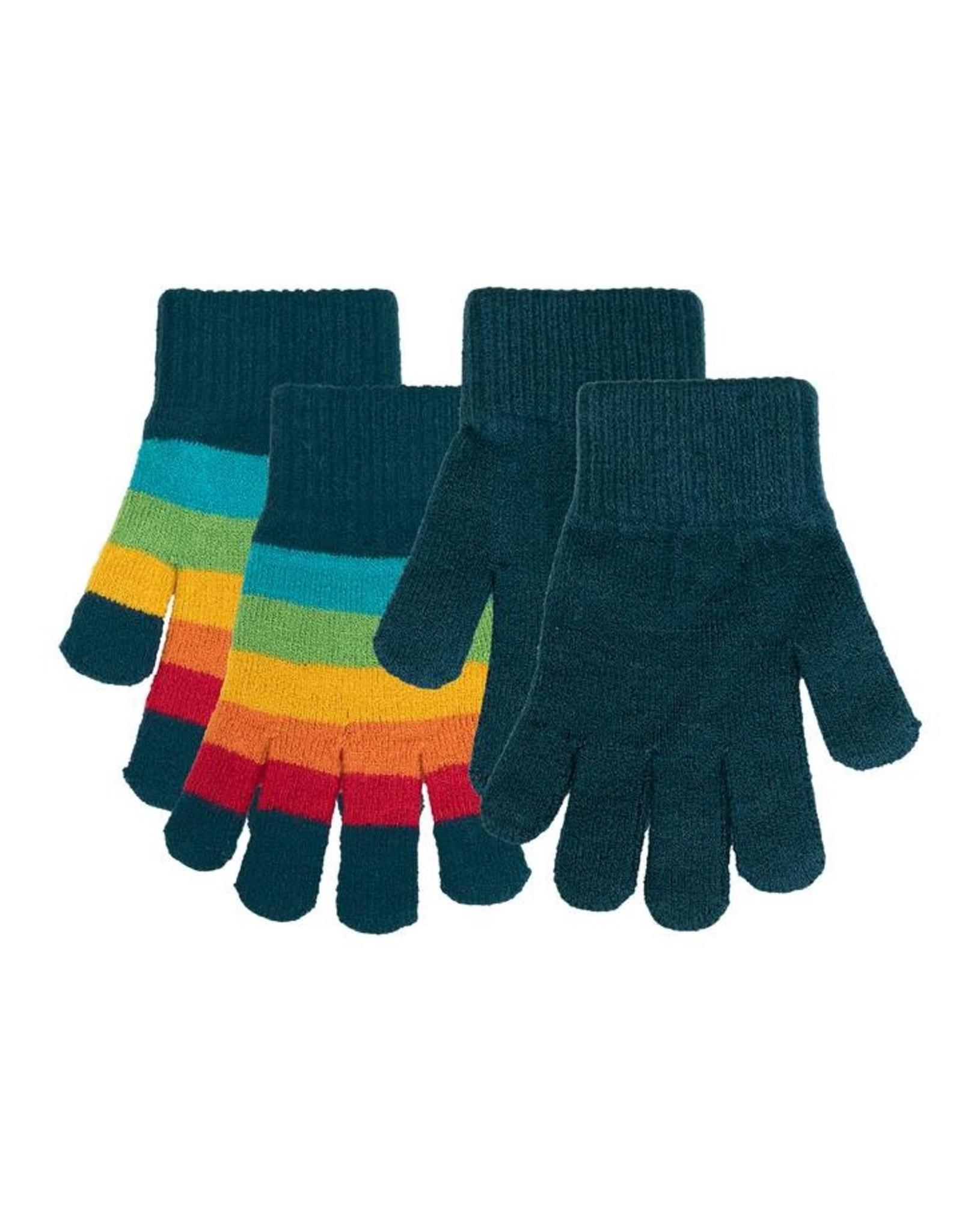 Villervalla 2-pack handschoenen (strepen en effen blauw)