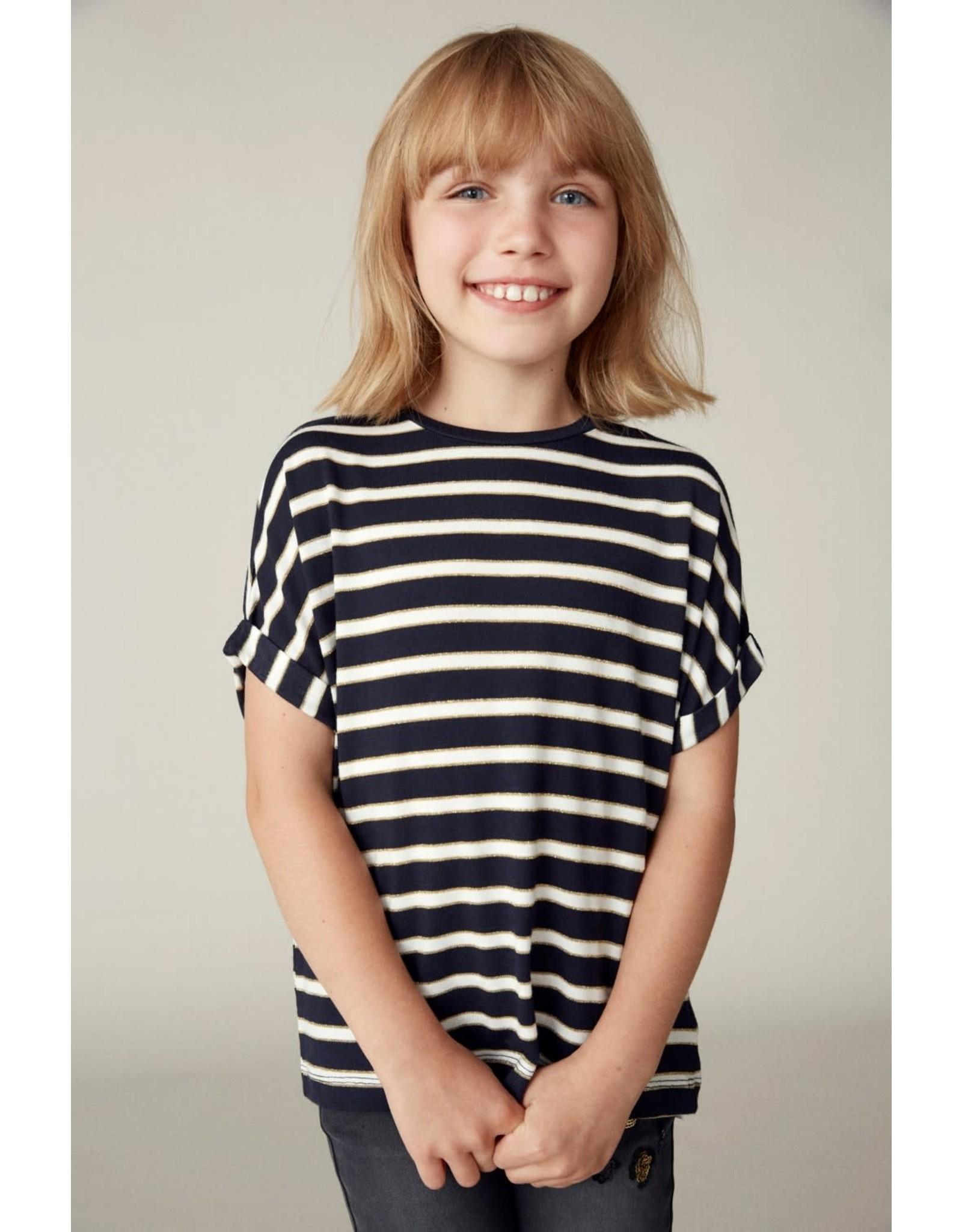 Name It T-shirt (breder model) met blauwe-witte glitter streepjes