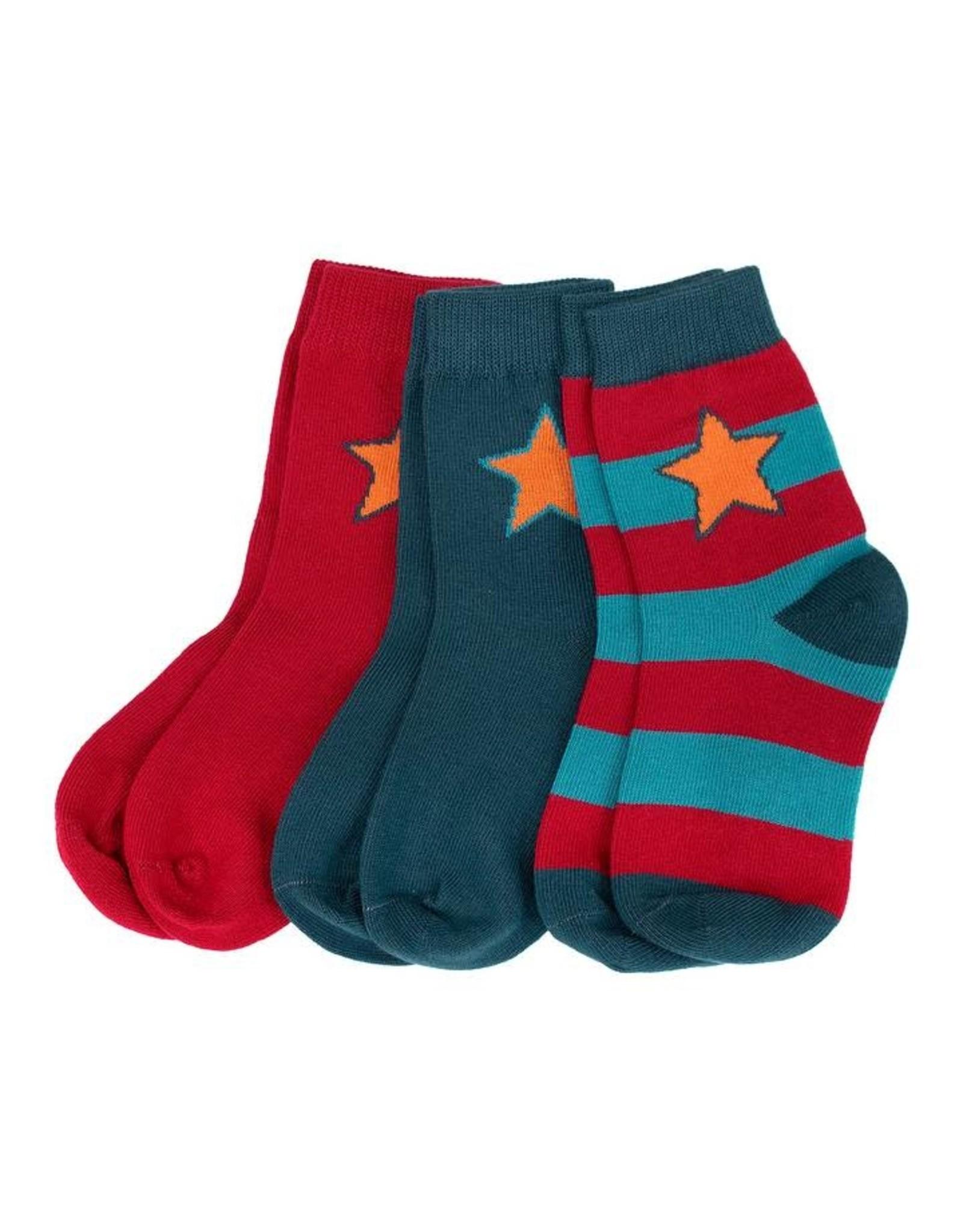 Villervalla 3-pack sokken (2 effen - 1 streepjes)