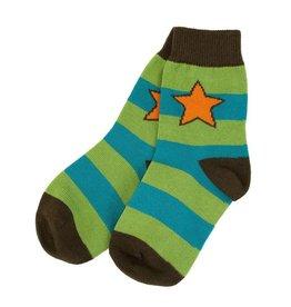 Villervalla Blauw/groen gestreepte sokken