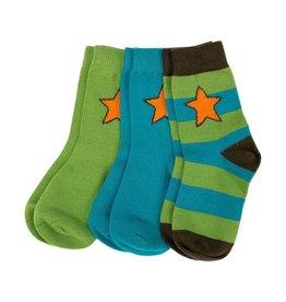 Villervalla 3-pack groen/blauwe sokken (1 gestreept - 2 effen)