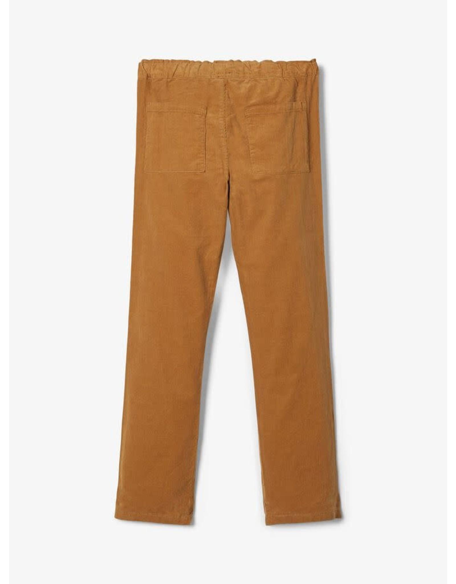 Name It Goud bruine jongens broek uit velours