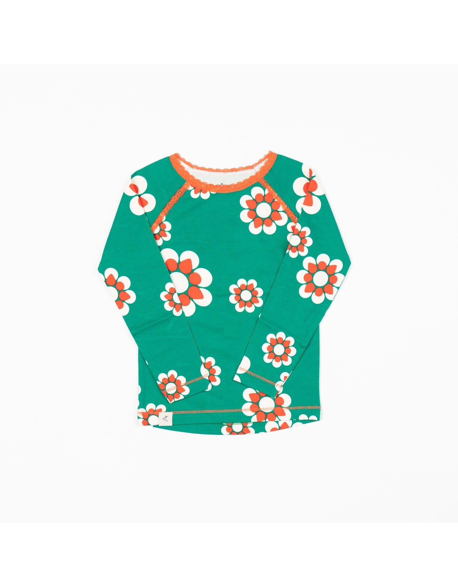 ALBA of Denmark Groene retro t-shirt met wit/oranje bloemen