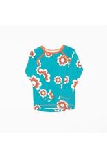 ALBA of Denmark Blauwe retro t-shirt met oranje/witte bloemen