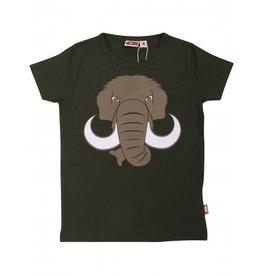 Dyr Donkergroene t-shirt met mammoet print