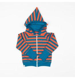 ALBA of Denmark Gestreepte blauw/oranje hoodie met rits - LAATSTE MAAT 92
