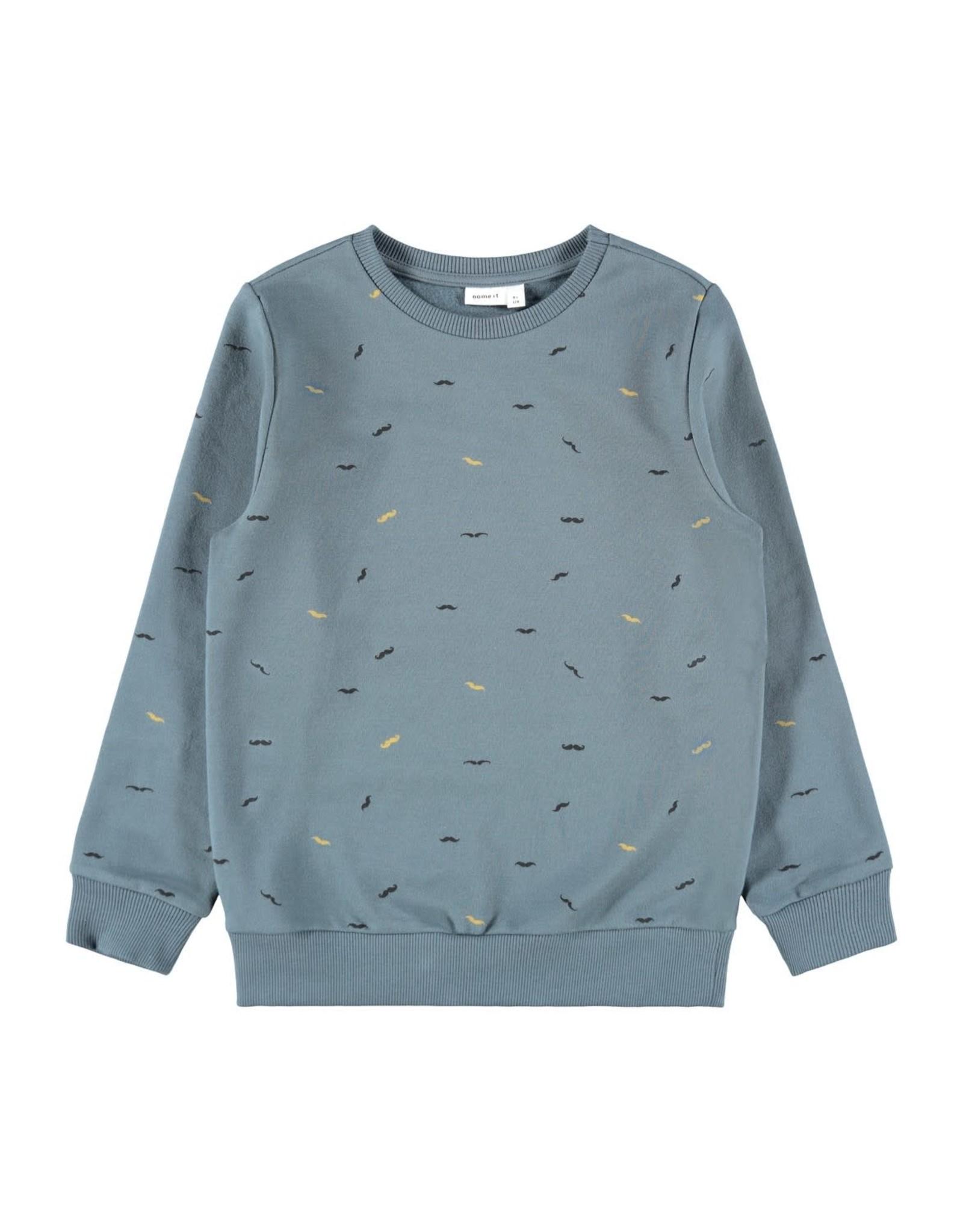 Name It Blauwe sweater trui met snorren print