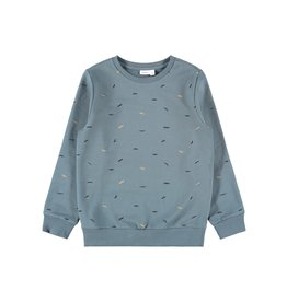 Name It Blauwe sweater trui met snorren print
