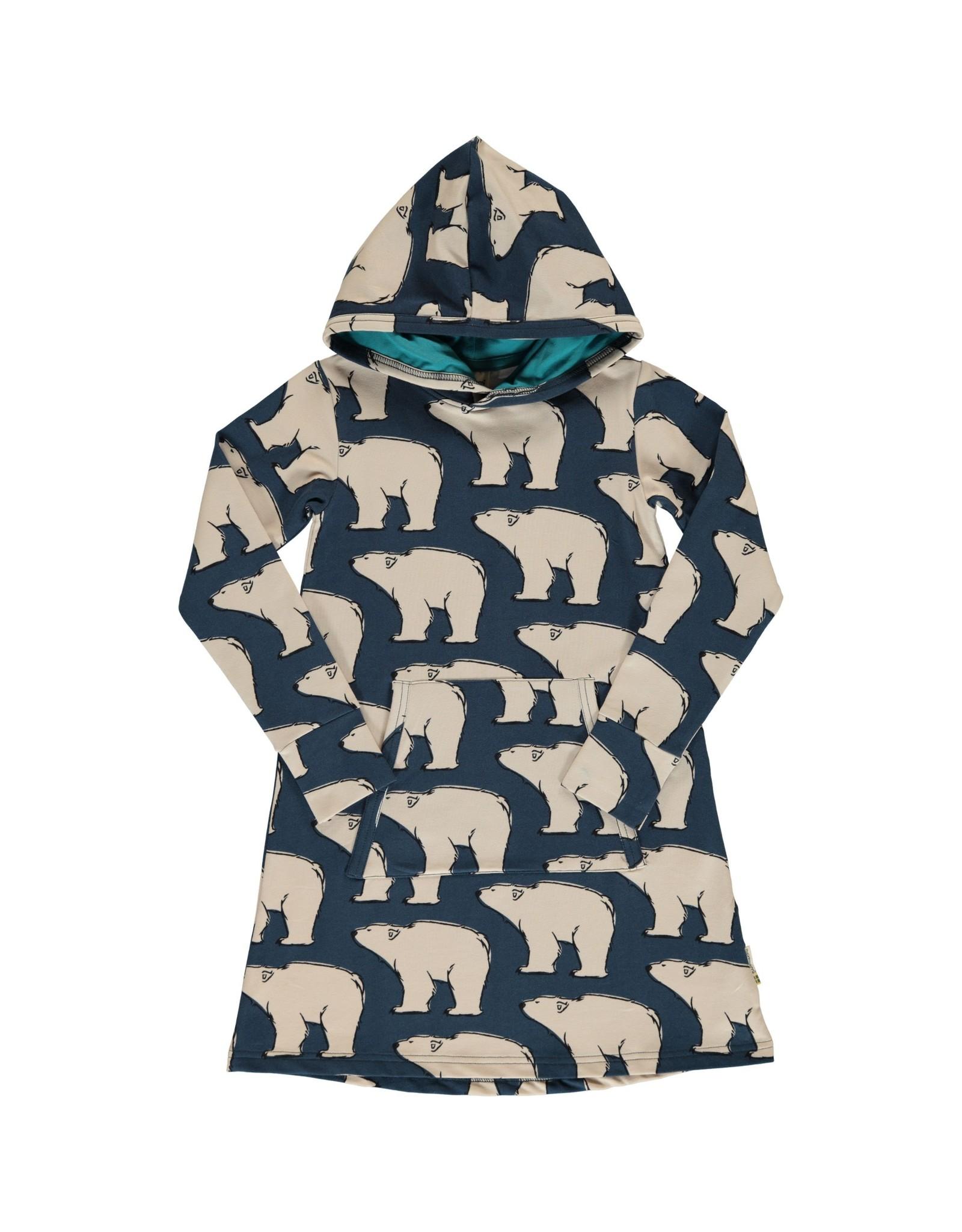 Maxomorra Hoodie kleedje met ijsberen - LAATSTE MAAT 86/92
