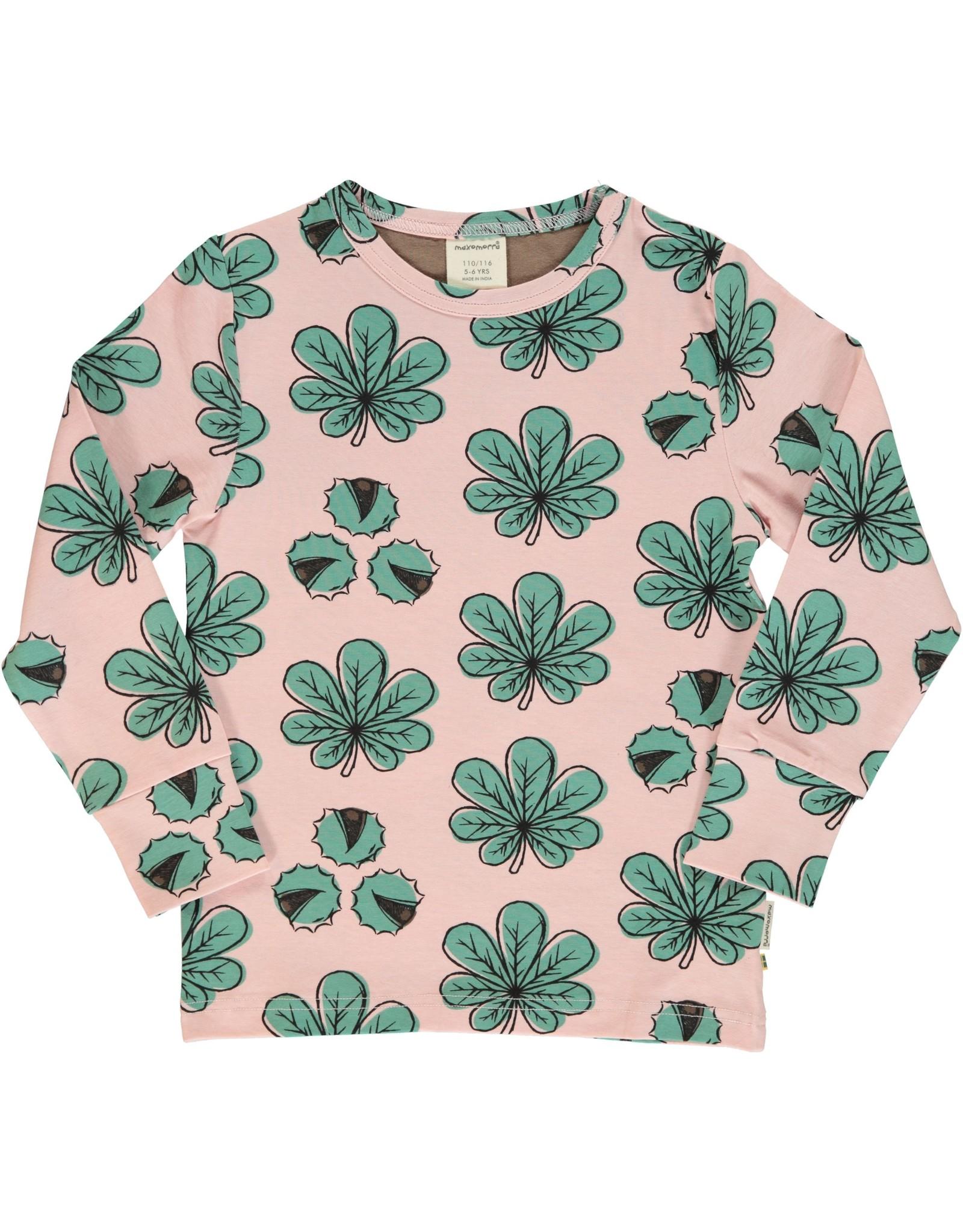 Maxomorra T-shirt met kastanjeboom bladeren