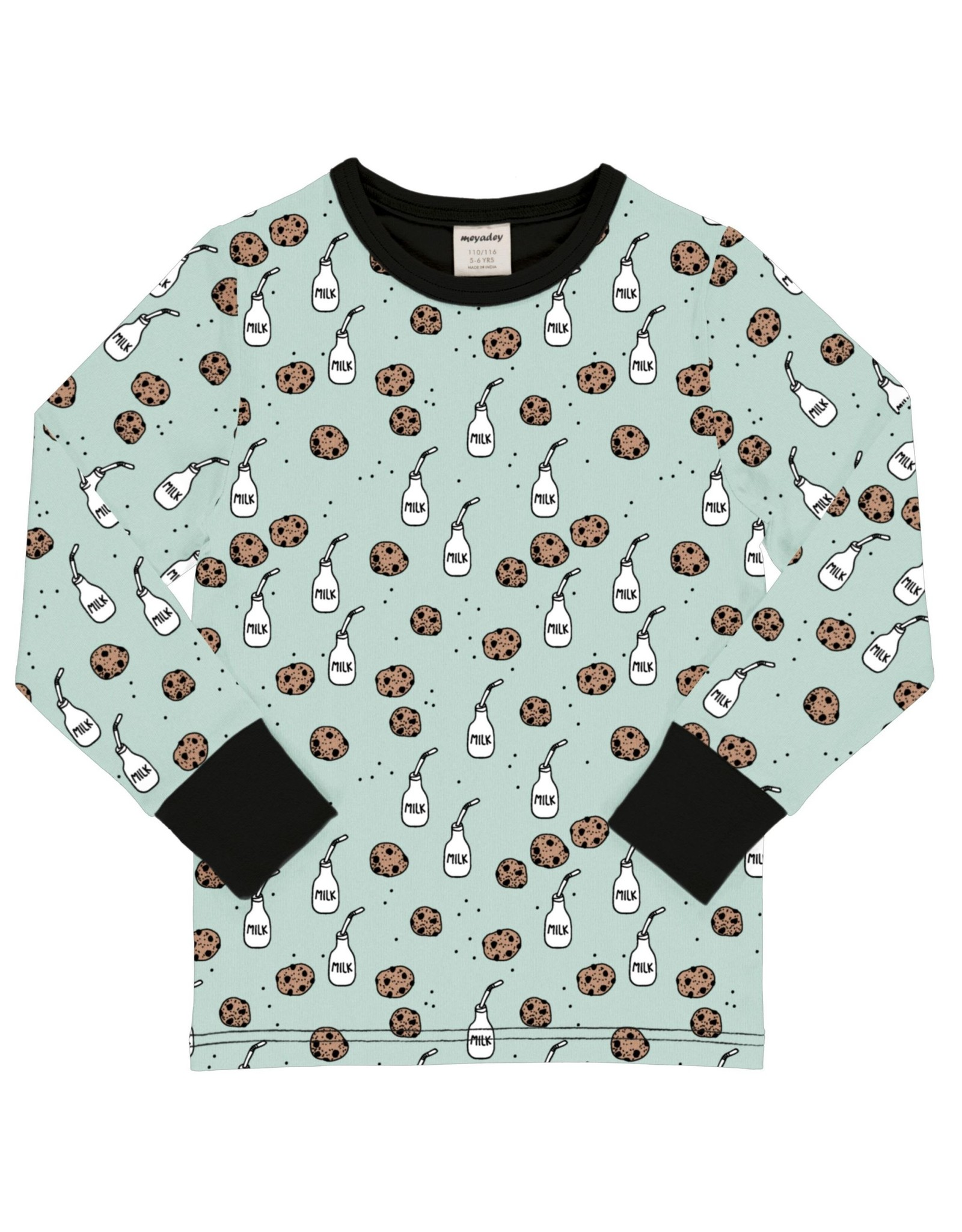 Meyadey T-shirt met melk en koekjes print